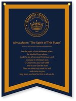 Banner Navy Dovetail Banner with Old Gold Flocking CU Seal with Cedarville Alma Mater Collegiate Pacific FA20