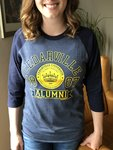 Alumni Raglan Long Sleeved Tee in Heather Denim with Navy Sleeves