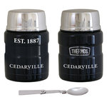 Thermos Stainless Steel King Food Jar w/ Spoon Spirit EST. 1887 over CEDARVILLE FA19 Midnight Blue, Silver & Army Green in White Ink